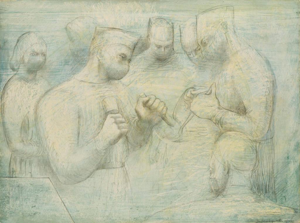 "Barbara Hepworth, peinture intitulée ""Reconstruction"" - Bloc opératoire"